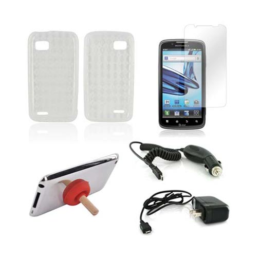 Motorola Atrix 2 Essential Bundle Package w/ Clear Crystal Silicone Case, Screen Protector, Red Plunger Stand, Car & Travel Charger