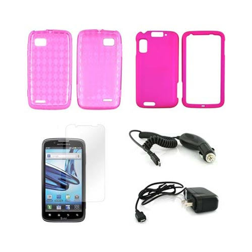 Motorola Atrix 2 Essential Bundle Package w/ Hot Pink Crystal Silicone Case, Rose Pink Rubberized Hard Case, Screen Protector, Car & Travel Charger