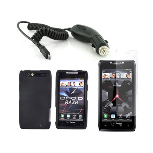 Motorola Droid RAZR Basic Bundle Package w/ Black Rubberized Hard Case, Screen Protector, and Car Charger