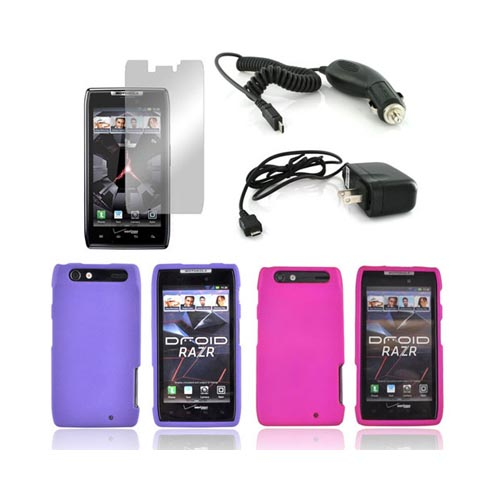 Motorola Droid RAZR Essential Bundle Package w/ Hot Pink & Purple Rubberized Hard Case, Mirror Screen Protector, Car & Travel Charger