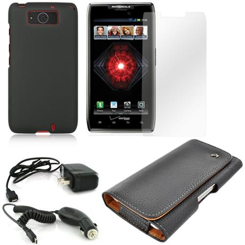 Essential Bundle Package w/ Black Rubberized Hard Case, Screen Protector, Leather Pouch, Car & Travel Charger for Motorola Droid Ultra/ Droid MAXX