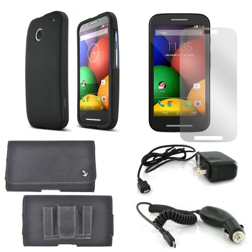 Essential Starter Bundle Package for Motorola Moto E w/ Black Rubberized Hard Case, Screen Protector, Leather Pouch, Car & Travel Charger