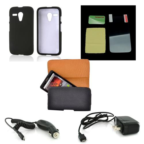 Essential Starter Bundle Package w/ Black Rubberized Hard Case, Screen Protector, Leather Pouch, Car & Travel Charger for Motorola Moto G