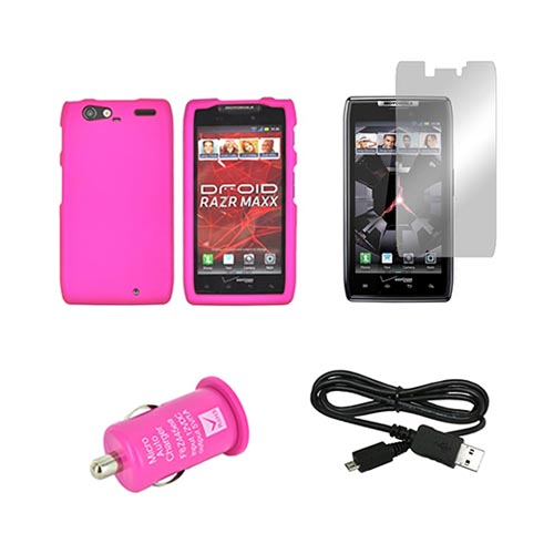 Motorola Droid RAZR MAXX Hot Pink Bundle w/ Hot Pink Hard Case, Micro USB Data Cable, Hot Pink USB Car Adapter, & Mirror Screen Protector