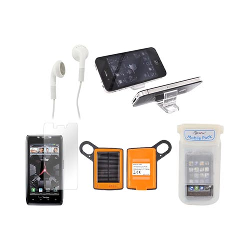 Motorola Droid Razr Maxx Package: Dicapac Waterproof Phone Case, Anti-glare Screen Protector, Solar Charger, 3.5mm Earbuds, Portable Keychain Stand