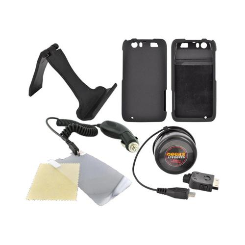 Motorola Atrix HD Essential Bundle Package w/ Black Rubberized Hard Case, Screen Protector, Portable Stand, Car & Travel Charger