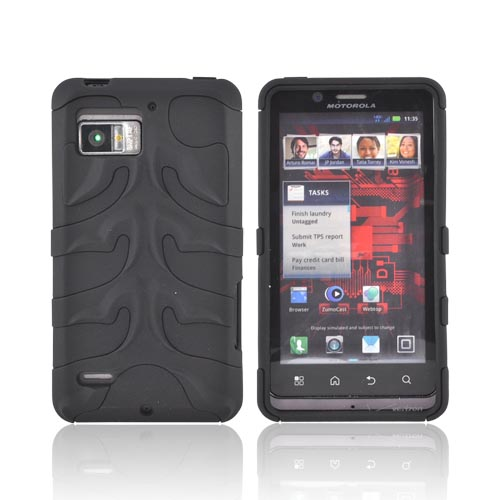 Original Nex Motorola Droid Bionic XT875 Rubberized Hard Fishbone on Silicone Case w/ Screen Protector, MOTXT875FB02 - Black