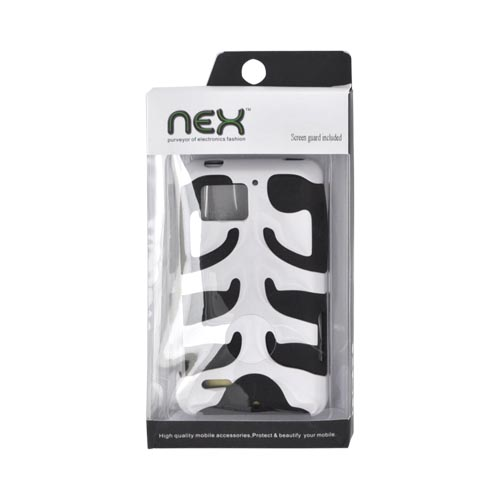 Original Nex Motorola Droid Bionic XT875 Rubberized Hard Fishbone on Silicone Case w/ Screen Protector, MOTXT875FB21 - White/ Black