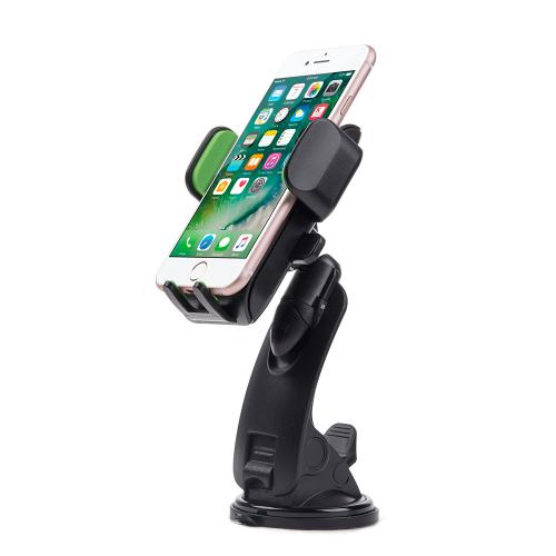 Universal Car Dash/ Window Mount Phone Holder w/ Multiple Adjustable Angles & Quick Release Function [Green/ Black]