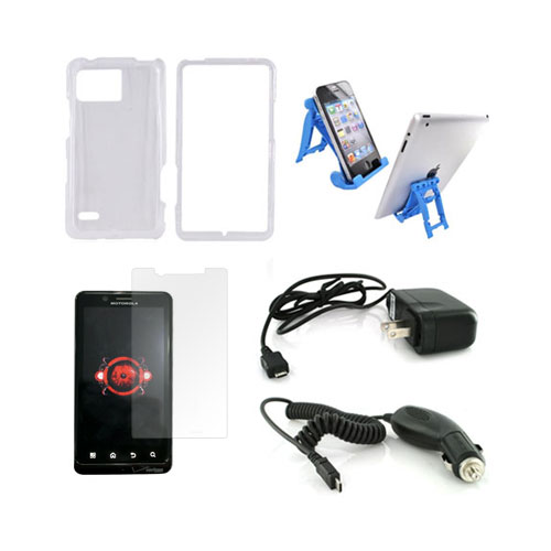 Motorola Droid Bionic Essential Bundle Package w/ Clear Hard Case, Screen Protector, Light Blue 3Feet Stand, Car & Travel Charger