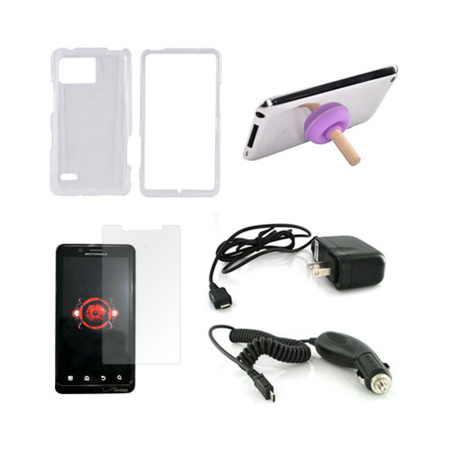 Motorola Droid Bionic Essential Bundle Package w/ Clear Hard Case, Screen Protector, Purple Plunger Stand, Car & Travel Charger