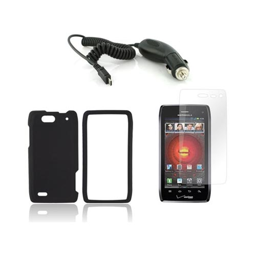 Motorola Droid 4 Basic Bundle Package w/ Black Rubberized Hard Case, Screen Protector, and Car Charger