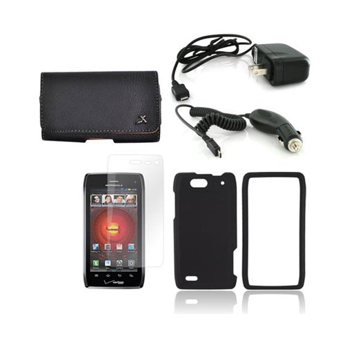 Motorola Droid 4 Essential Bundle Package w/ Black Rubberized Hard Case, Screen Protector, Leather Pouch, Car & Travel Charger