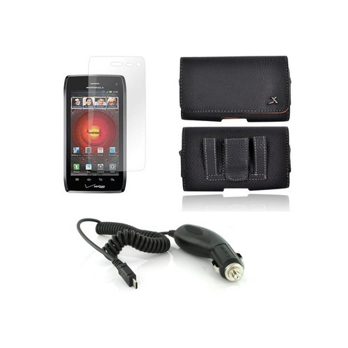 Motorola Droid 4 Essential Girly Bundle Package w/ Premium Horizontal Leather Pouch, Screen Protector, &  Car Charger