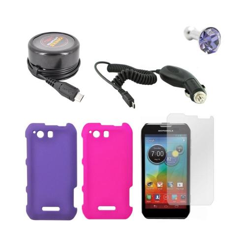 Motorola Photon Q 4g Lte Girly Package:  Hot Pink & Purple Rubberized Hard Case, Anti-glare Screen Protector, Purple Gem Stopple, Car Travel Charger