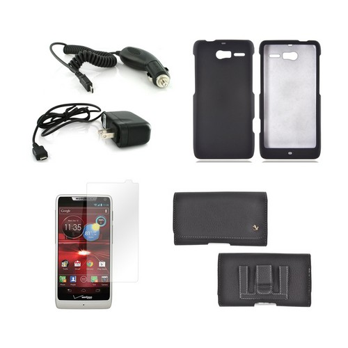 Motorola Droid Razr M Essential Combo Package Premium Horizontal Pouch, Black Rubberized Hard Case, Car Charger, Travel Charger, & Screen Protector