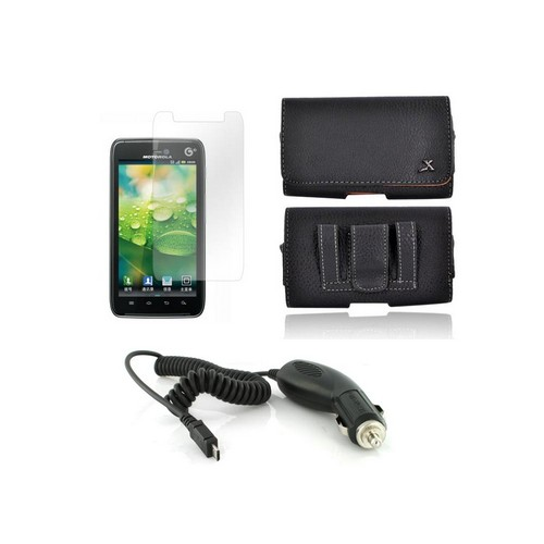 Motorola Droid RAZR HD Essential Bundle Package w/ Premium Horizontal Leather Pouch, Screen Protector, &  Car Charger