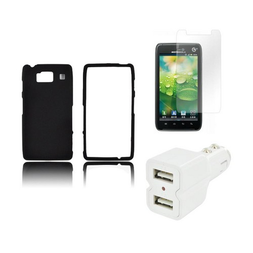 Motorola Droid RAZR HD Essential Bundle Package w/ Black Rubberized Hard Case, Car Charger, & Screen Protector