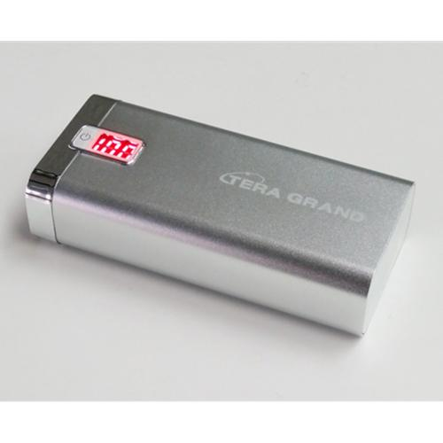 TERA GRAND 5200 mAh Dual USB Power Bank [Silver], Compact Portable External Battery - Charge Tablets!