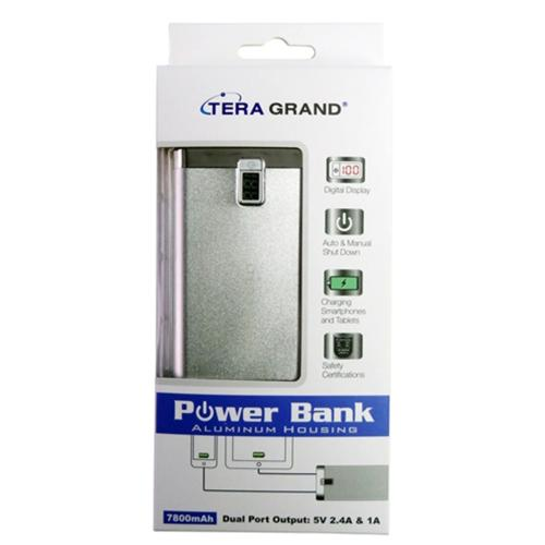 TERA GRAND 7800 mAh Dual USB Power Bank [Silver], Compact Portable External Battery - Charge Tablets!