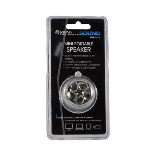 Silver Universal Mini Portable Rechargeable Speaker from Kinyo (3.5mm)