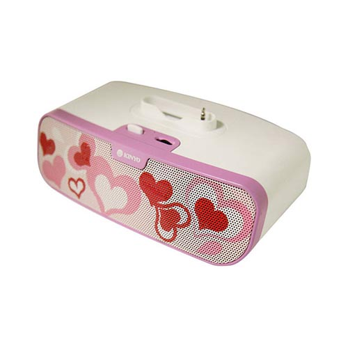 Original Kinyo Battery/ USB Powered 2.0 Portable Speaker System (3.5mm), MS-730H - White/ Pink Hearts