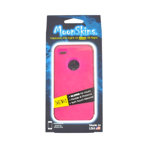 Original MoonSkins AT&T/ Verizon Apple iPhone 4, iPhone 4S Glow-In-The-Dark Crystal Silicone Case, MSK-SI01-01 - Magenta