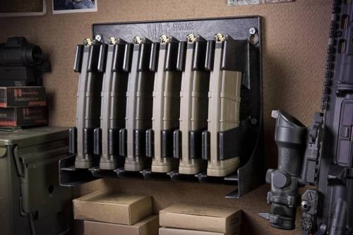 [Mag Storage Solutions] AR-15 Magazine Holder Mag Holder Rack - Compatible w/ most .223 and 5.56 caliber mags - Holds Six 30-round AR-15 magazines - Mount inside your gun safe/weapon room