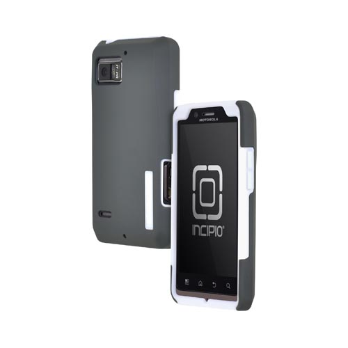 Original Incipio Silicrylic Motorola Droid Bionic XT875 Dual Hard Case on Silicone w/ Screen Protector, MT-141 - Gray/ White