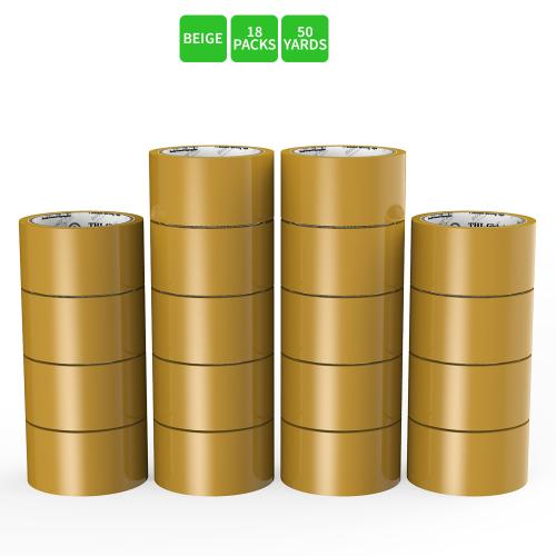 Moving / Storage Tape, 18 Rolls of Commercial Grade [M Tape- BEIGE] Value Bundle for Heavy Duty Packaging [1.9 Inches x 50 Yards]