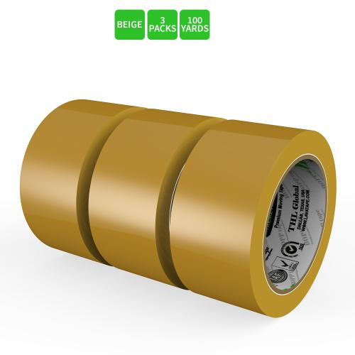 Moving / Storage Tape, 3 Rolls of Commercial Grade [M Tape- BEIGE] Value Bundle for Heavy Duty Packaging [1.9 Inches x 100 Yards]