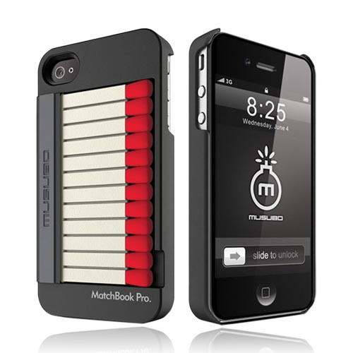 Original Musubo MatchBook Pro Apple iPhone 4/ 4S Rubberized Hard Case w/ Stand & Screen Protector - Black/ Red/ White Matchbook