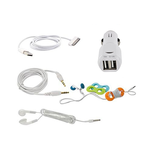 Iphone/ipod Music Lovers Combo : White Earbud Headset, Cable Organizer, 3.5mm Aux Cable, Charger/sync Data Cable, & Dual Usb Port Car Charger Adapter