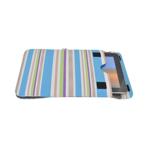 "Original Kroo USA Universal (Up to 10.2"" Tablets like Samsung Galaxy Tab & Asus Transformer) Folding Canvas Wrapper Case Stand, MWRPXLK1 - Baby Blue/ Purple/ White Stripes"