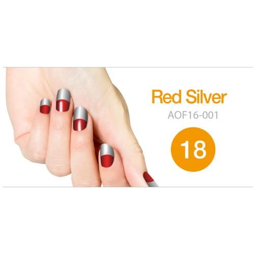 Art Ongle Nail Polish Strips, Nail Color [Red/ Silver]