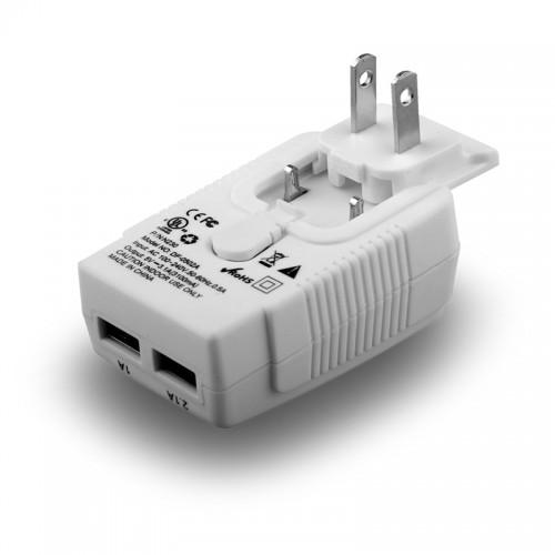 Naztech White N230 International Dual USB AC Charger (3.1A) - Charge Around the World!