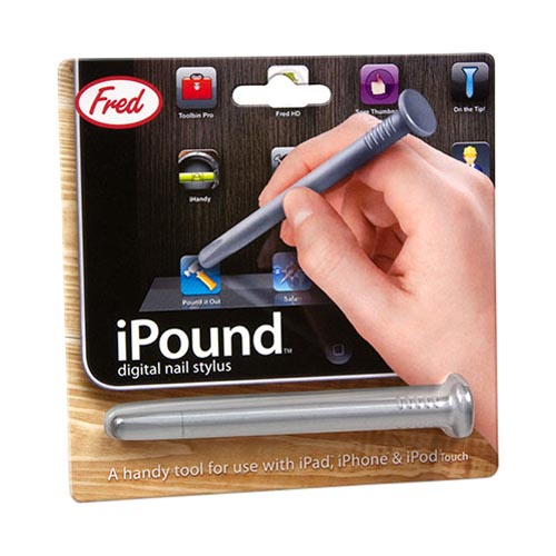 Original Fred & Friends iPound Touch Screen Stylus, NAIL - Gray Nail