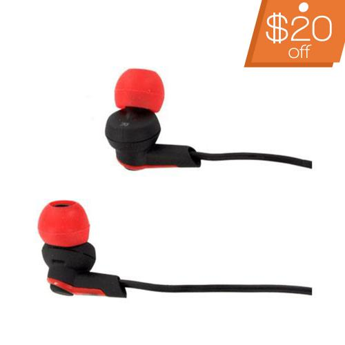 Original New Balance Universal 2-In-1 Sport Earbuds w/ Removable Earhooks & Volume Control (3.5mm) NB439B - Black/ Red/ White