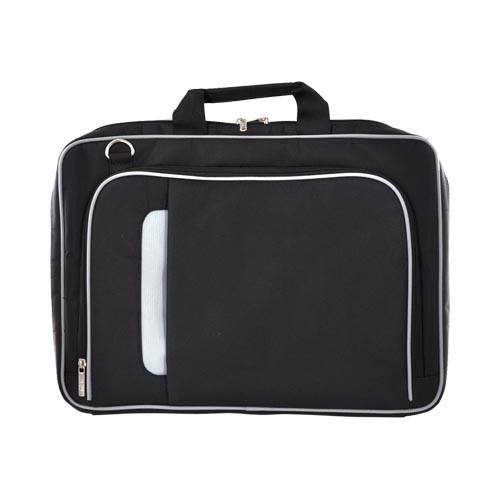 "Original Kroo 17"" Notebook PINN Series Nylon Bag w/ Reinforced Frame, ND17PNK1 - Black/ Gray"