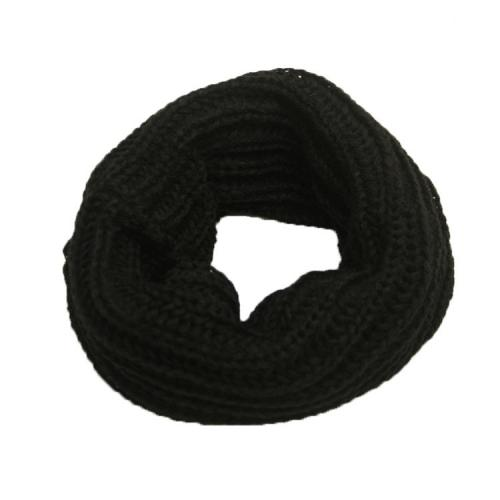 Thick Knitted Winter Neck Warmer - Mask, Beanie, Reversible Neck Gaiter, Tube [Black]
