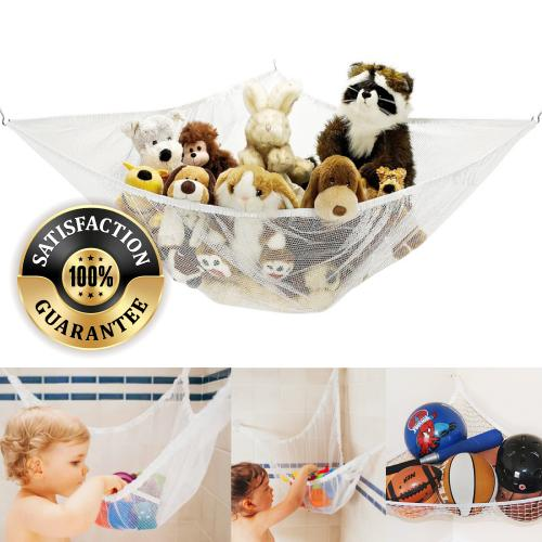 Toy Hammock Net Organizer for Stuffed Animals & Toys [White]