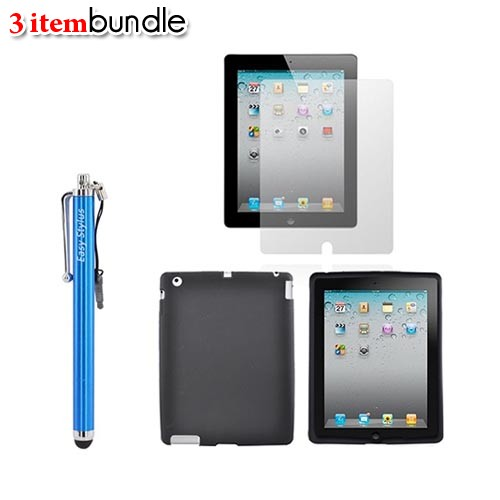 New Apple iPad, Apple iPad 2 Essential Bundle w/ Black Silicone Case, Screen Protector, & Blue Pen Stylus