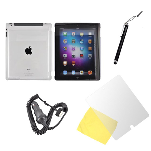 Apple iPad 2/3/4 Essential Bundle w/ Clear Hard Case, Screen Protector, Black Stylus, & Car Charger (2100 mAh)