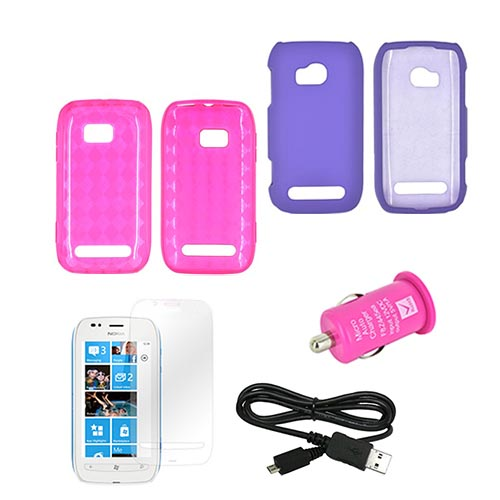 Nokia Lumia 710 Package: Hot Pink Crystal Silicone & Rubberized Hard Case, Mirror Screen Protector, Micro Usb Data Cable, & Hot Pink Usb Car Adapter