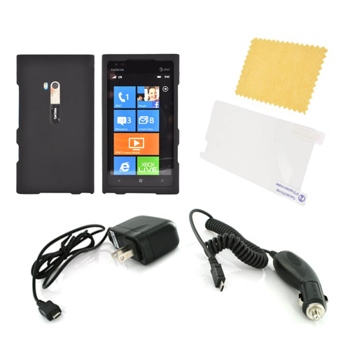 Nokia Lumia 900 Essential Bundle Package w/ Black Rubberized Hard Case, Screen Protector, Car & Travel Charger
