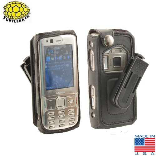Original TurtleBack Premium Nokia N82 Leather Case w/ Swivel Belt Clip - Black