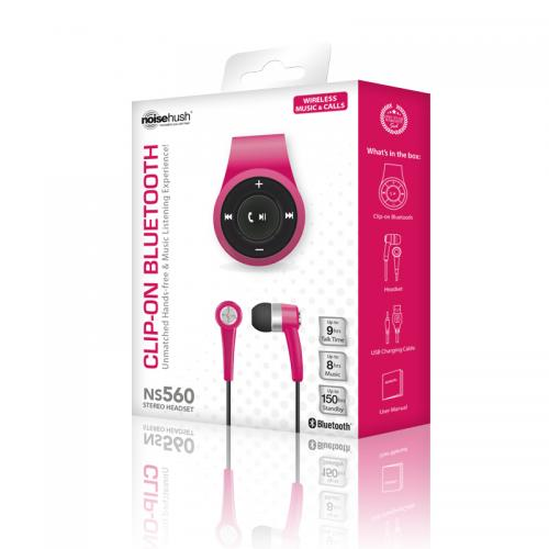 NoiseHush NS560 Clip-on Bluetooth Dongle & Stereo Headset Combo - Perfect for Apple Phone 7 & 7 Plus! [Hot Pink]
