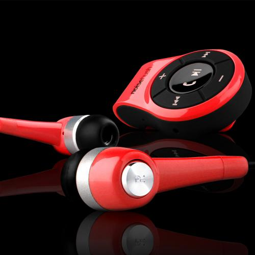 NoiseHush NS560 Clip-on Bluetooth Dongle & Stereo Headset Combo - Perfect for Apple Phone 7 & 7 Plus! [Red]