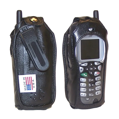 Original TurtleBack Premium Sprint/Nextel Motorola i355 Leather Case w/ Swivel Belt Clip - Black