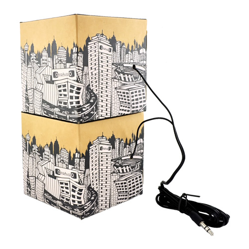 Original OrigAudio Premium Fold N' Play Recycled Speakers 3.5mm - Cityscape Design